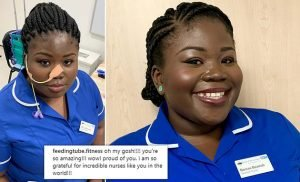 Healthy nurse spends all day with a nasogastric tube