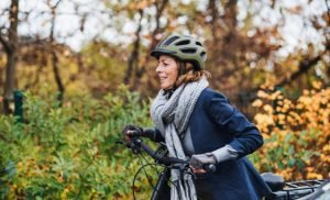 Head protection when Cycling: Bicycle helmet and head airbags to protect against injury