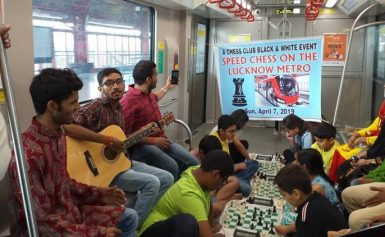 These kids just had a game of chess on the metro train to show one can play it anywhere, anytime