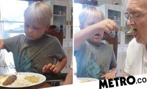 Cute video shows young boy feeding his granddad who has dementia