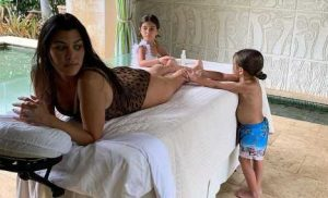 Kourtney Kardashian's Kids Rub Her Feet in Funny Pic: 'Love a Good Massage'