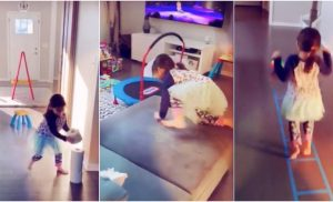 A personal trainer created a home obstacle course for his 3-year-old daughter to keep her active during the coronavirus pandemic