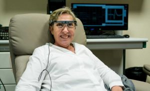 Brain implant stimulates the vision of a blind person, allowing her to see simple shapes and letters